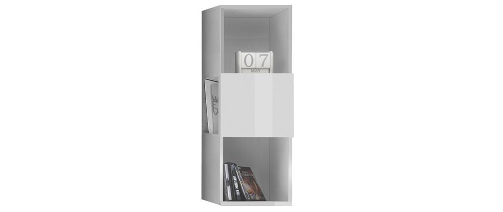 Estantería de pared vertical 3 espacios de almacenaje lacado blanco brillante ETERNEL