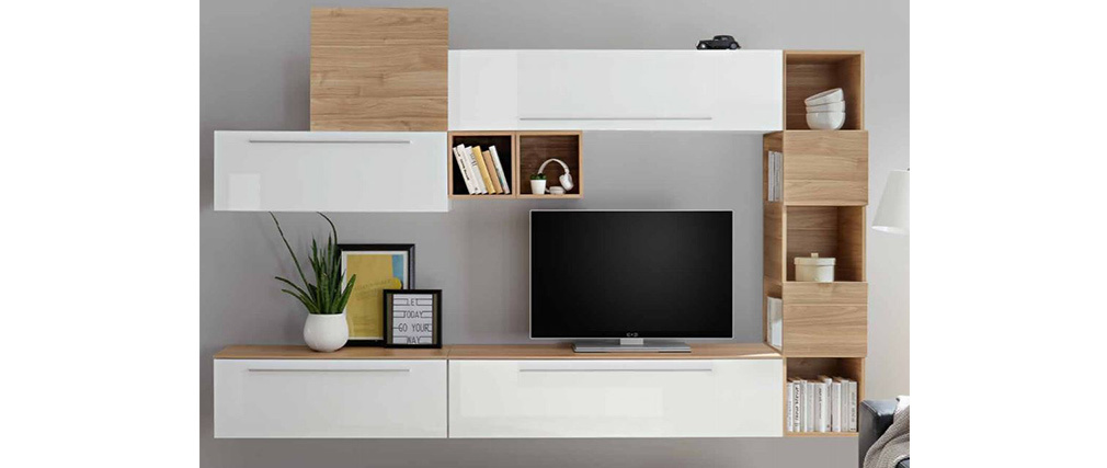 Estantería de pared vertical 5 espacios de almacenaje acabado blanco lacado brillante ETERNEL