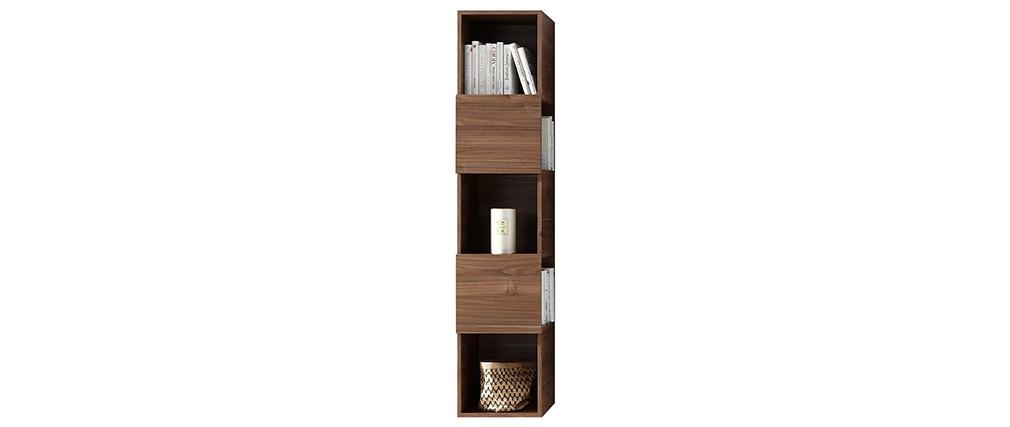 Estantería de pared vertical 5 espacios de almacenaje acabado madera oscura ETERNEL