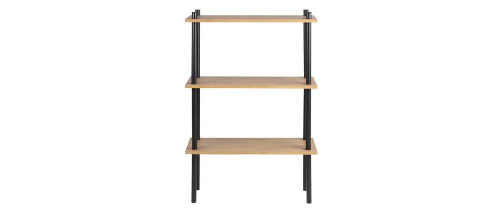 Estantería en metal negro y madera clara STAIR