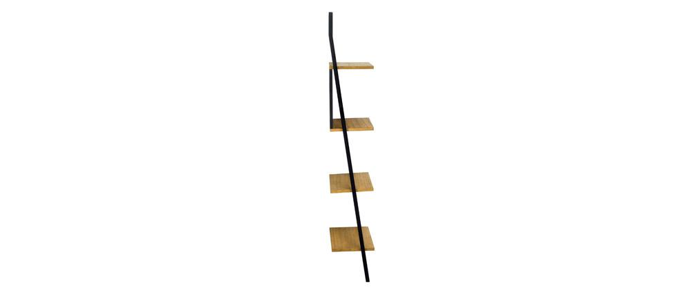 Estantería escalera industrial madera y metal negro SERAH