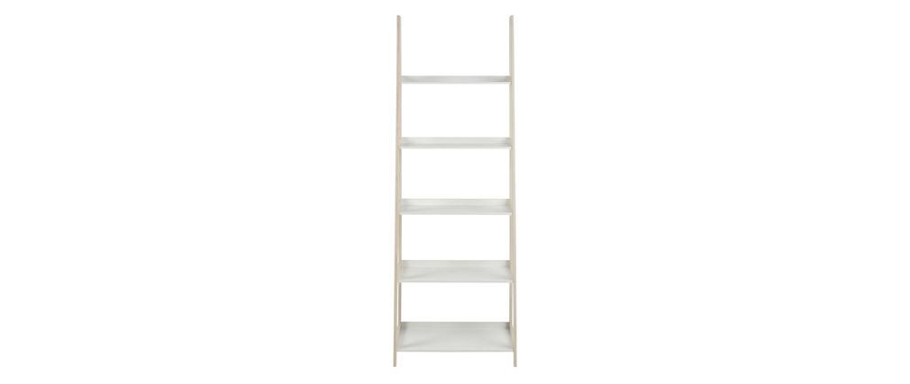Estantería escalera nórdica madera clara y blanco WILO