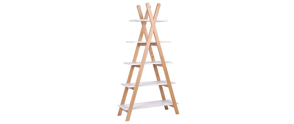 Estantería madera clara y blanca estilo nórdico APACHE