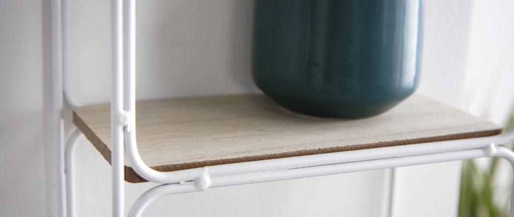 Estantería moderna metal blanca y madera BRICK