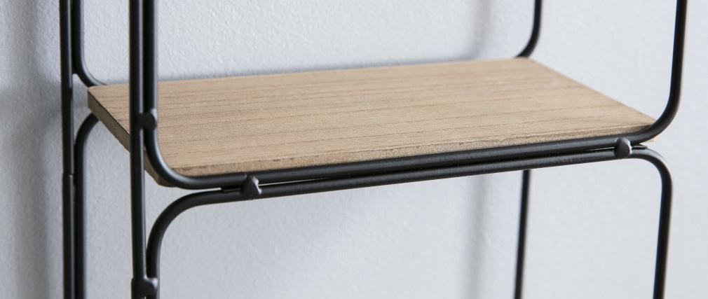 Estantería moderna metal negra y madera BRICK