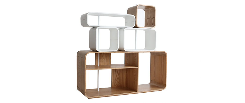 Estantería modulable madera clara y blanco BRICK