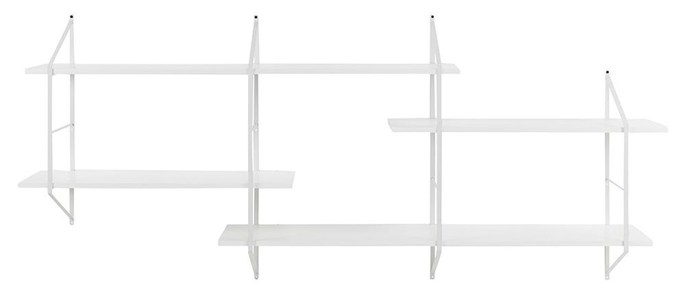 Estantería mural XL madera blanca y metal BRIDGE