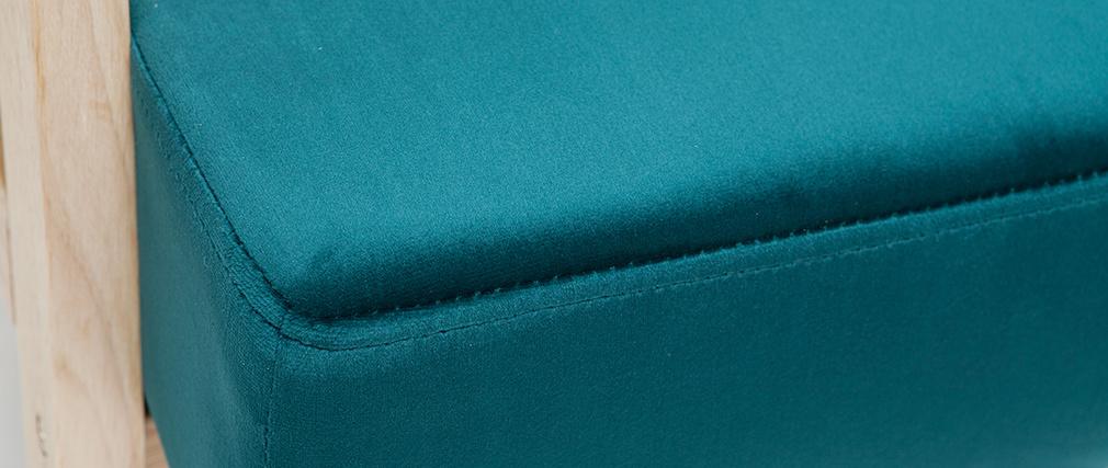 Fauteuil nórdico en terciopelo azul petróleo y madera clara ABYSS