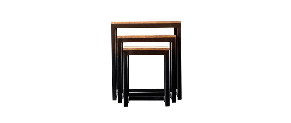 Juego de 3 mesas encajables estilo industrial de metal y madera FACTORY