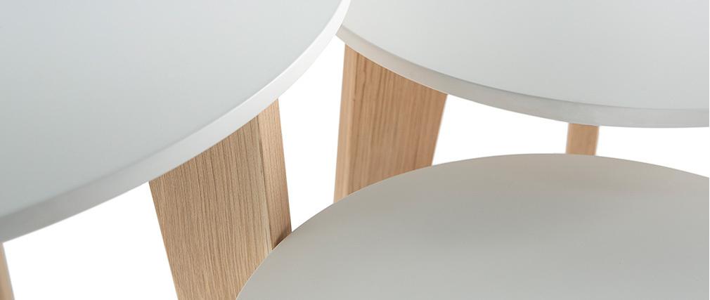 Juego de 3 mesitas de diseño lacadas blancas con roble natural LARGO
