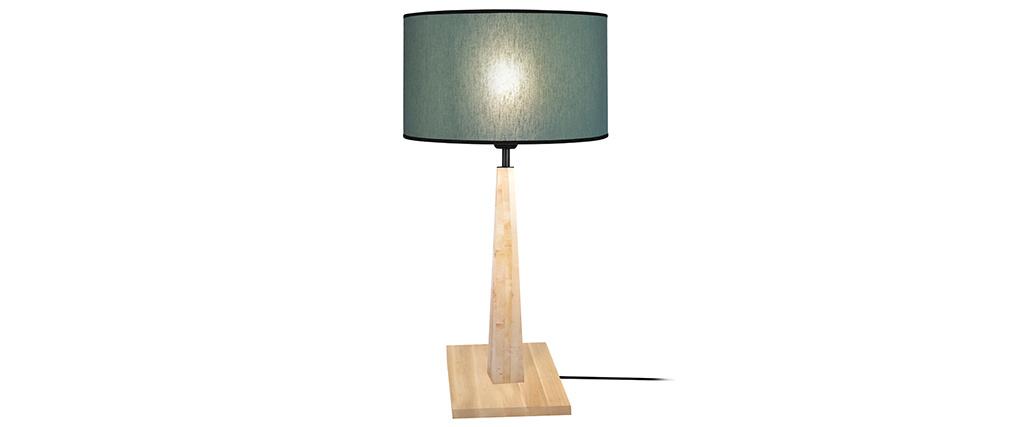 Lámpara de mesa color azul grisáceo base madera NIDRA