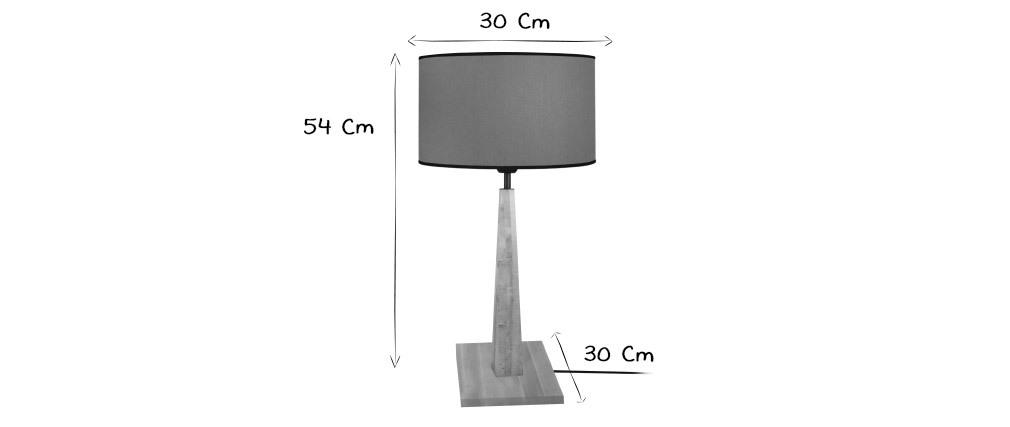 Lámpara de mesa color crudo base madera NIDRA