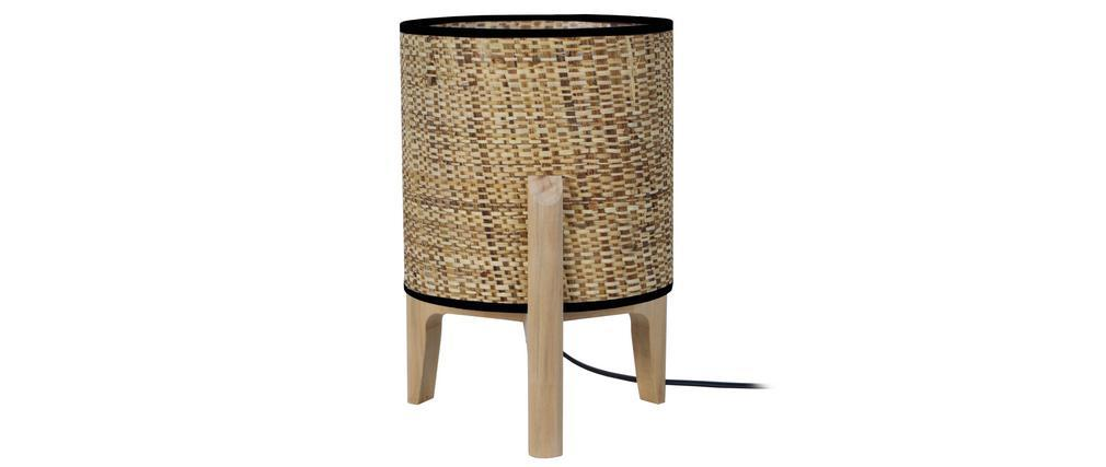 Lámpara de mesa con pantalla en yute y patas en madera A30 cm ALPHA