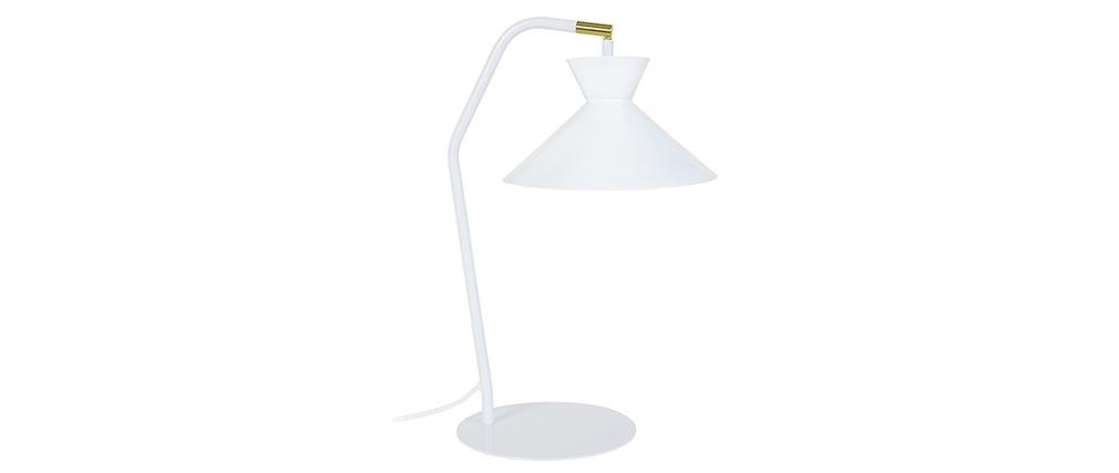 Lámpara de mesa diseño acero blanco LEEDS