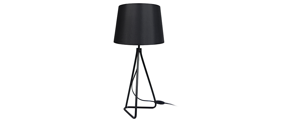 Lámpara de mesa diseño acero negra LADY