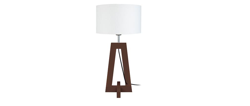 Lámpara de mesa diseño base oscura wengé MANON