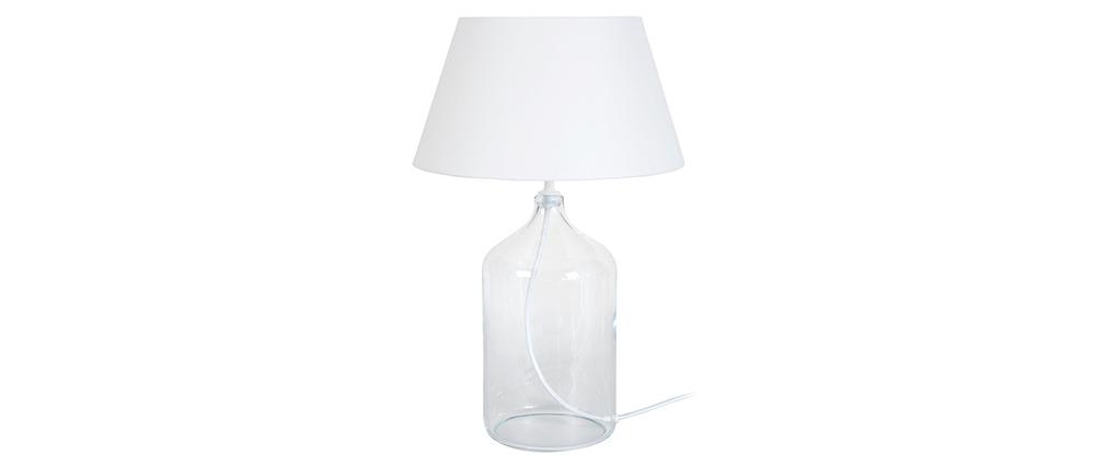 Lámpara de mesa diseño cristal y blanco TRAVEL