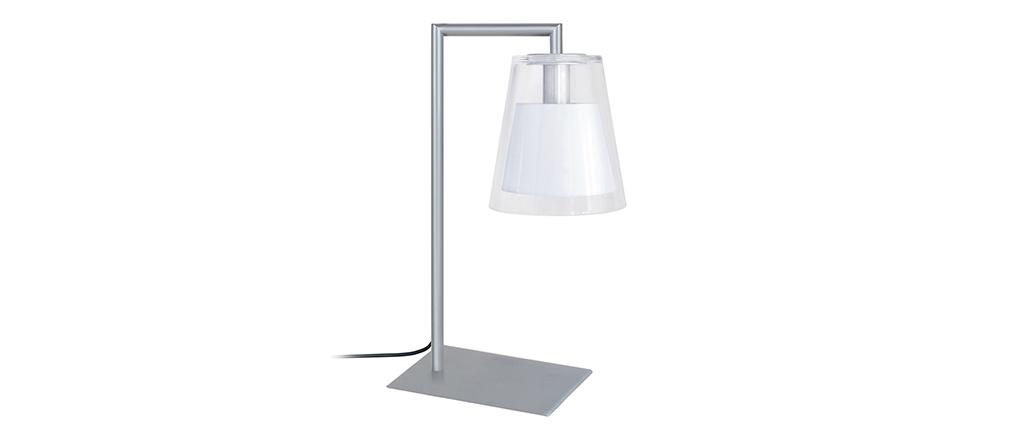 Lámpara de mesa diseño cristal y metal blanco ACROSS