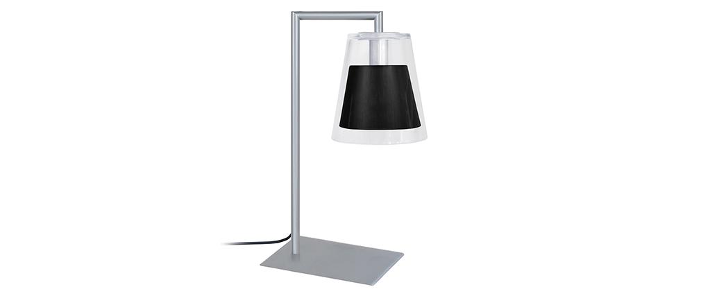 Lámpara de mesa diseño cristal y metal negro ACROSS