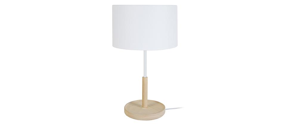 Lámpara de mesa diseño madera blanco ELIOT