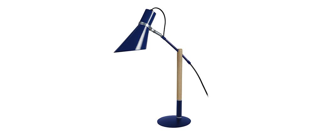 Lámpara de mesa diseño madera y acero azul SOUND