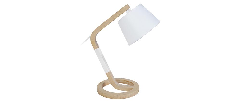 Lámpara de mesa diseño pie círculo madera blanca TWIST