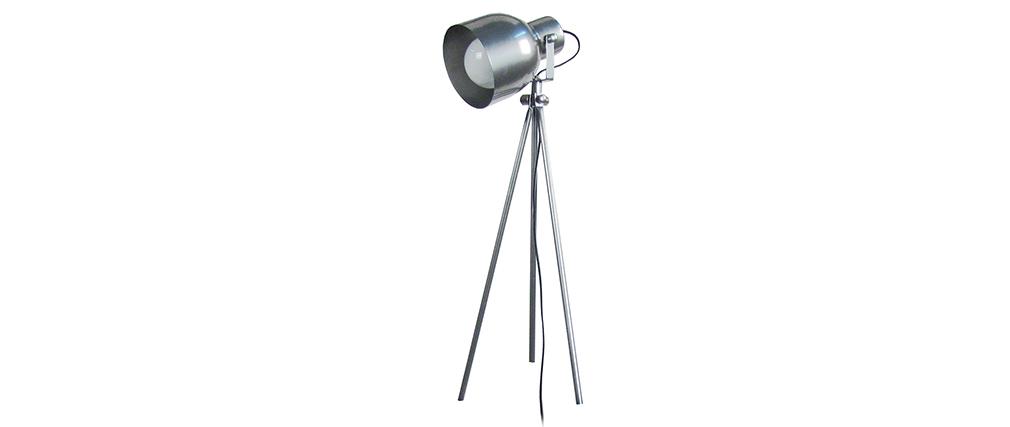 Lámpara de mesa diseño trípode acero cromado CITY