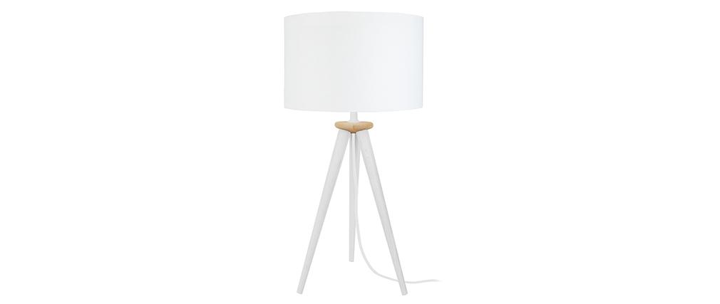 Lámpara de mesa diseño trípode madera blanca TRIPOD