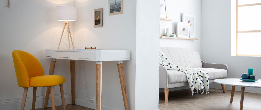 Lámpara de mesa diseño trípode madera natural TRIPOD