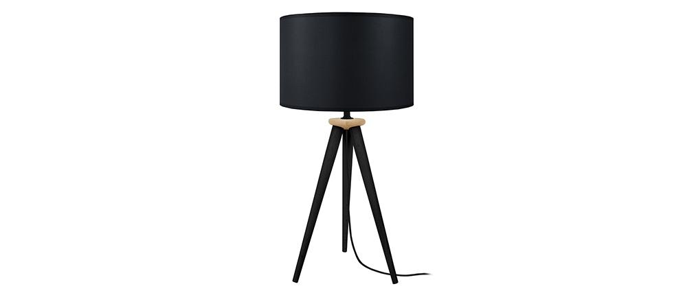 Lámpara de mesa diseño trípode madera negra TRIPOD