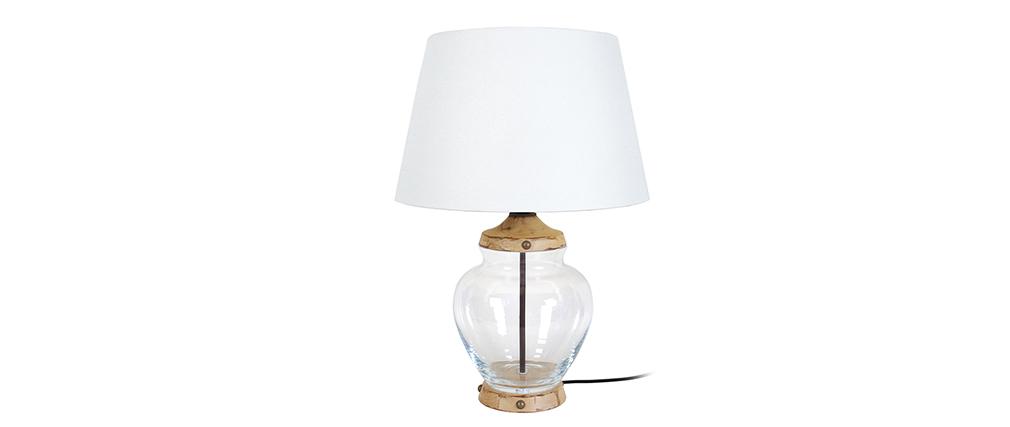 Lámpara de mesa diseño vidrio y madera PUKKA