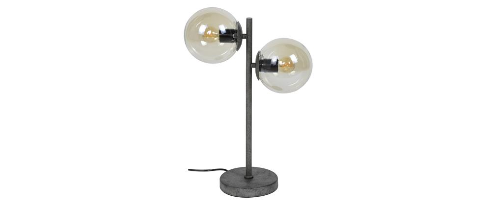 Lámpara de mesa en cristal y metal envejecido GLOB