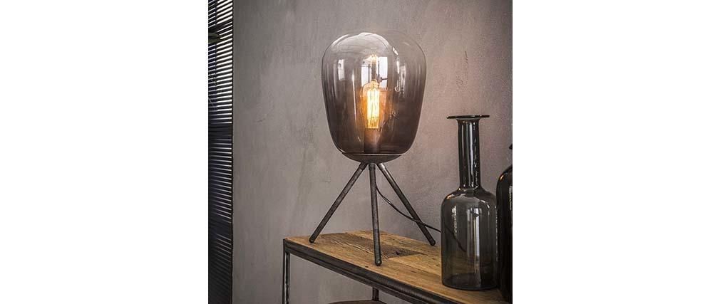 Lámpara de mesa en cristal y metal envejecido SMOKE