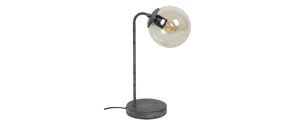 Lámpara de mesa en metal acabado envejecido y cristal GLOB