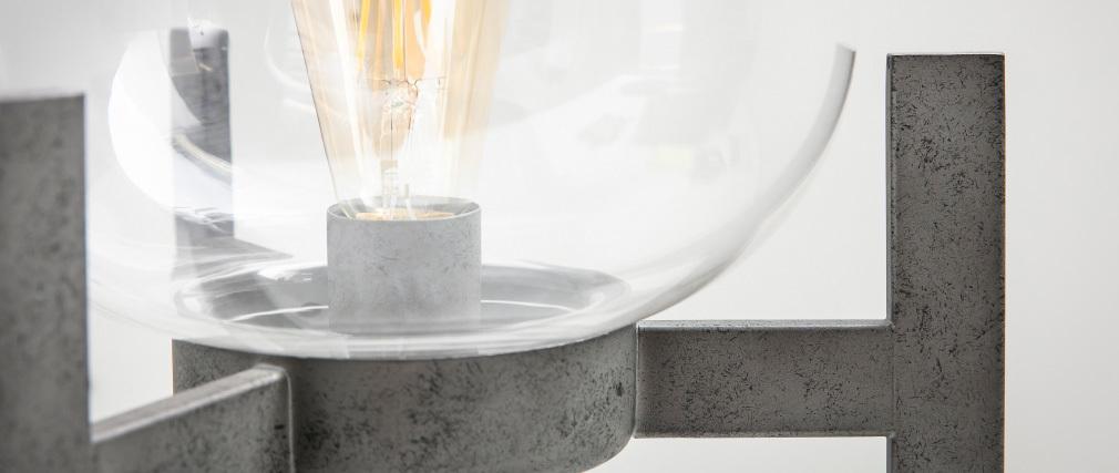 Lámpara de mesa en metal acabado envejecido y pantalla en cristal HALCYON