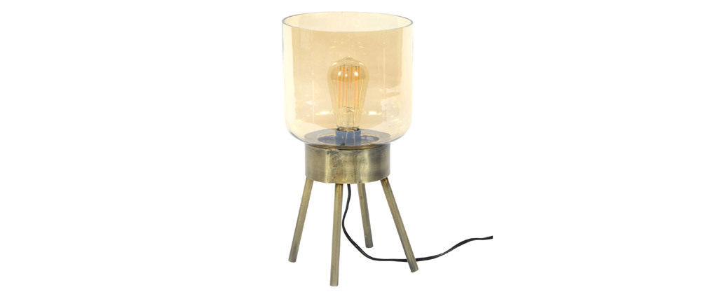 Lámpara de mesa en metal efecto bronce y cristal ambar AMBRE