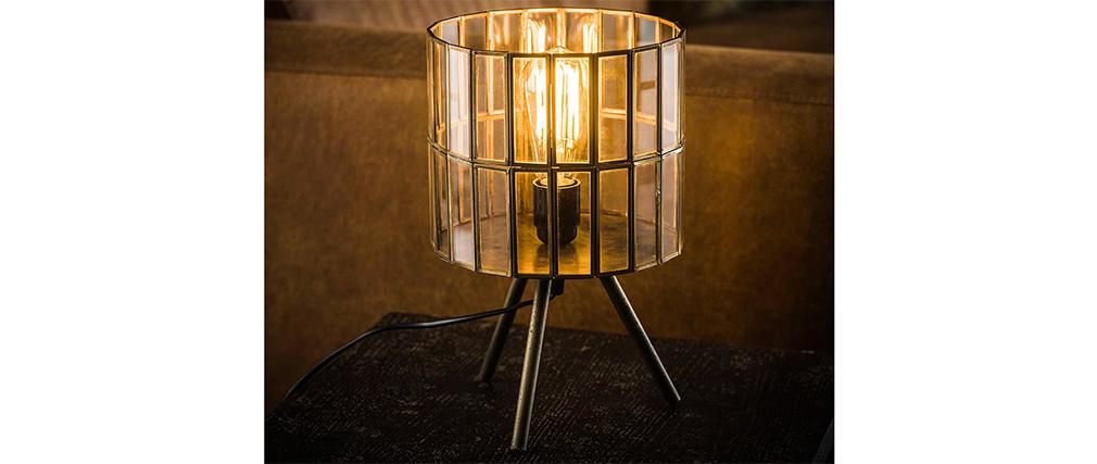 Lámpara de mesa industrial trípode en metal bronce CANOPY