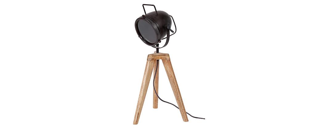 Lámpara de mesa industrial trípode madera y metal STUDIO