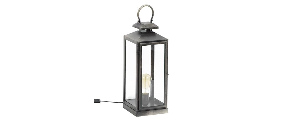 Lámpara de mesa linterna metal envejecido LANTERNA