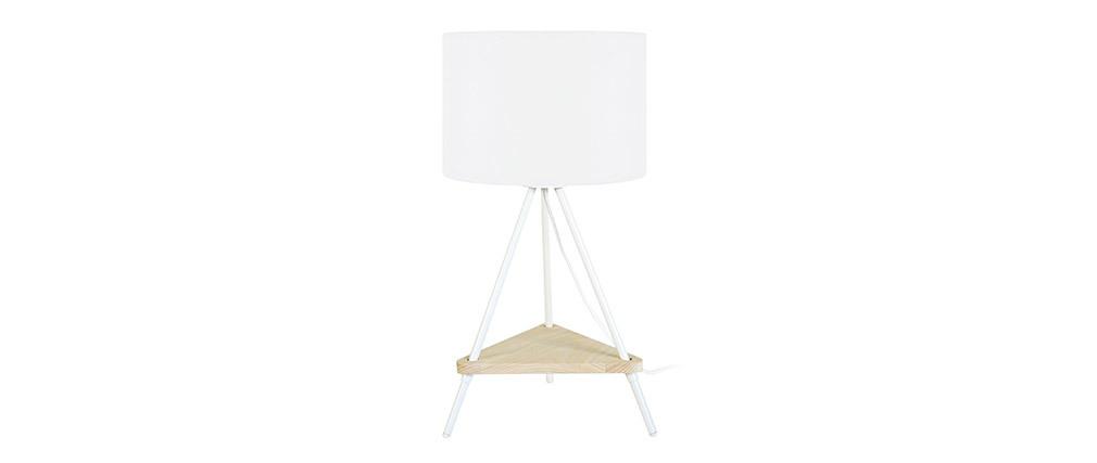 Lámpara de mesa metal blanco y madera YIN