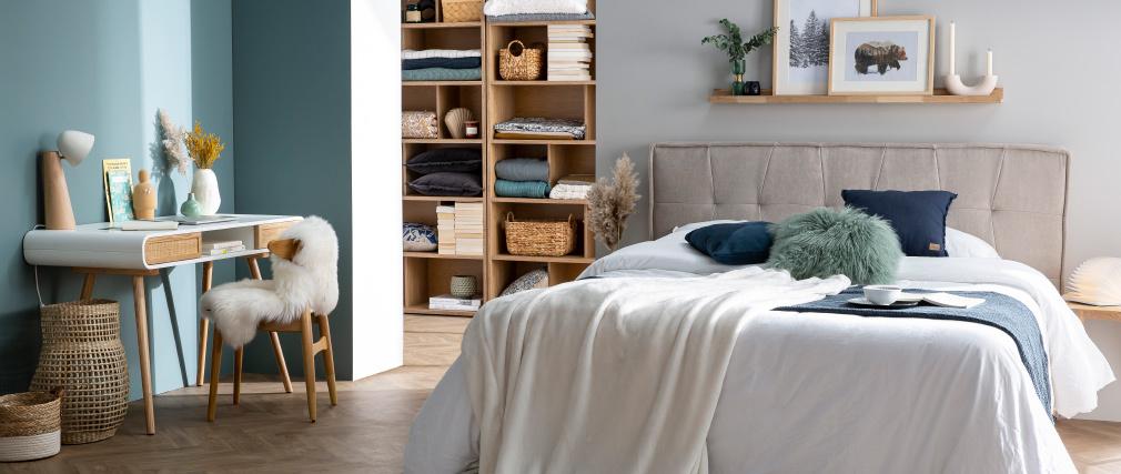 Lámpara de mesa nórdica madera clara y blanco FARO