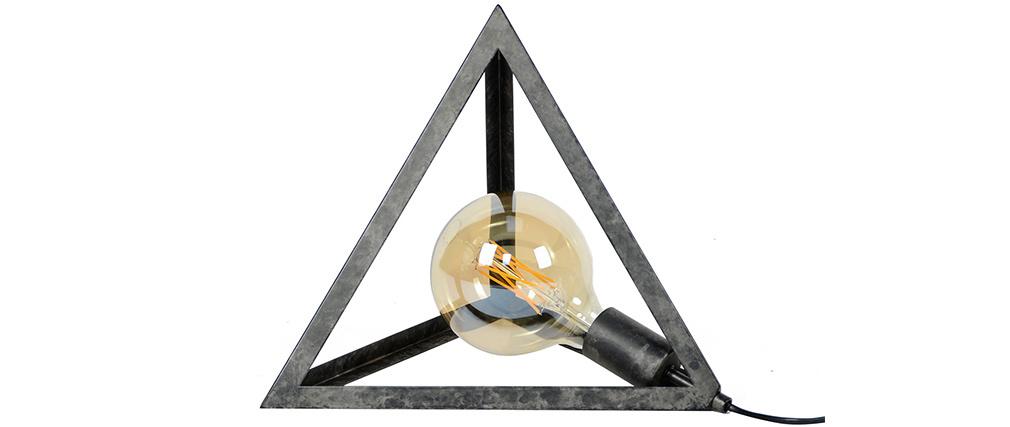 Lámpara de mesa pirámide metal envejecido LOUVRE