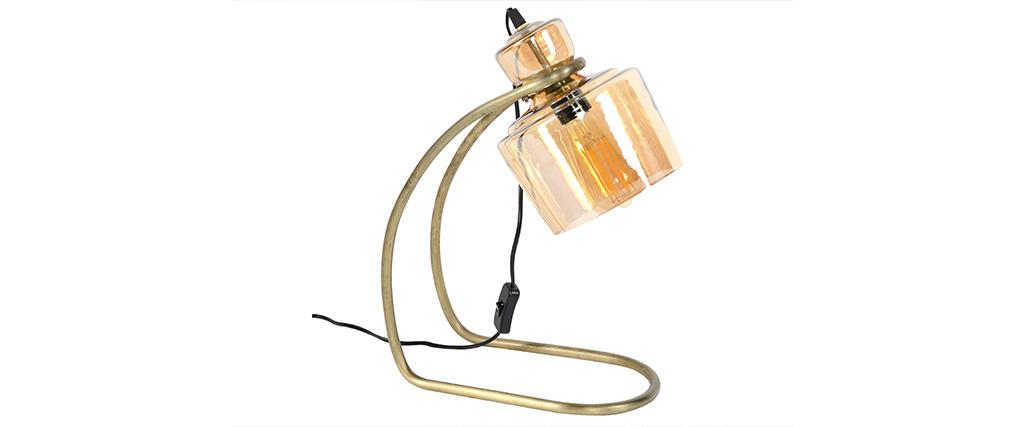 Lámpara de mesa vintage en metal y cristal color ámbar LOGGIA