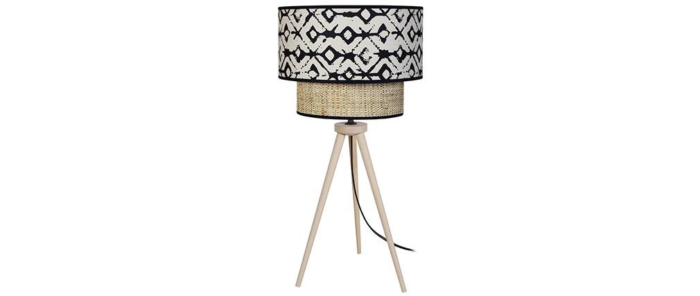 Lámpara de mesa yute y tejido estampado negro y beige ZAZA
