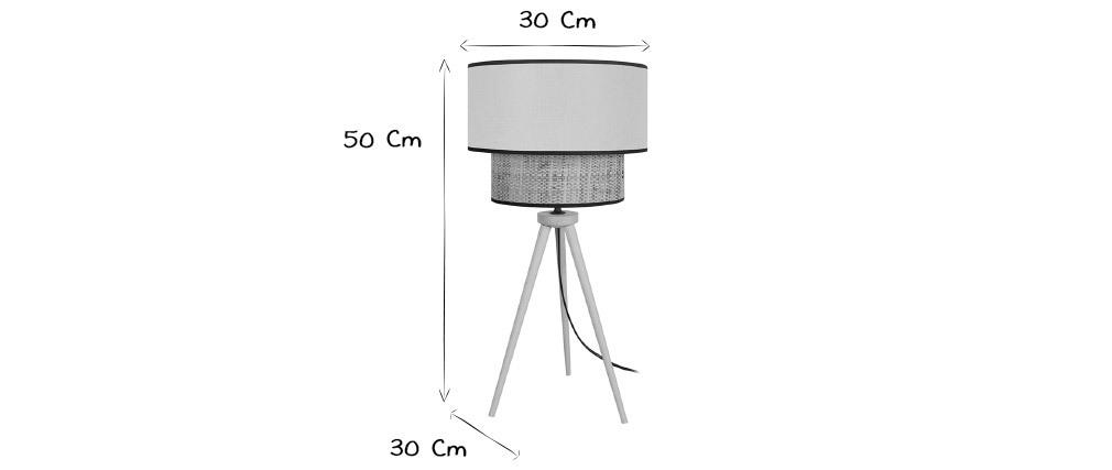 Lámpara de mesa yute y tejido granate CHILL