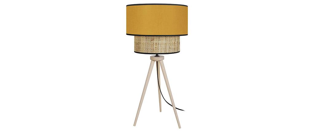 Lámpara de mesa yute y tejido mostaza CHILL