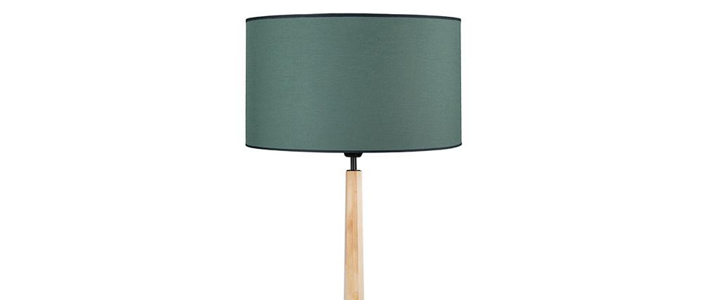Lámpara de pie azul grisáceo con pata de madera NIDRA