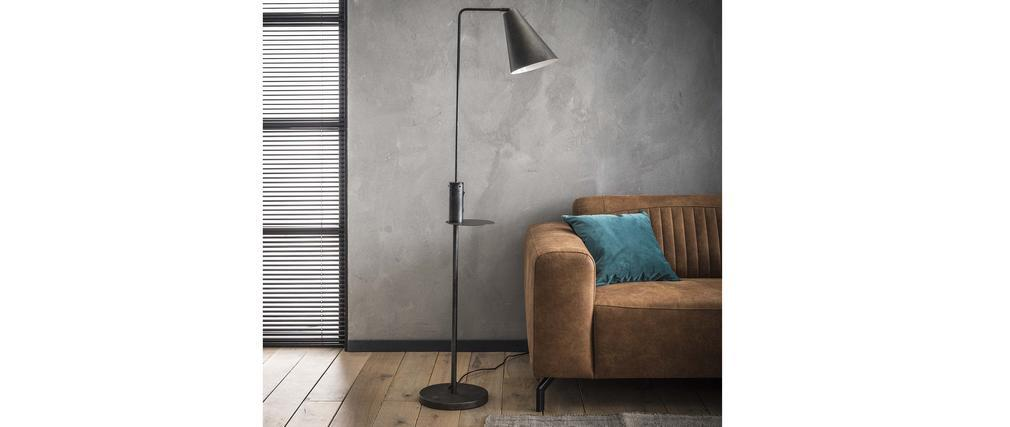 Lámpara de pie con cargador USB en metal de carbono DARYL