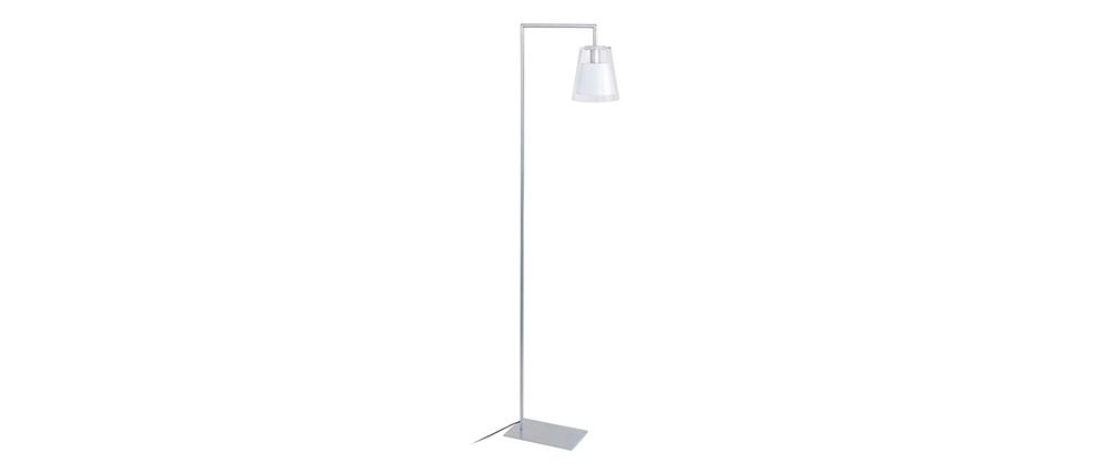 Lámpara de pie de lectura diseño vidrio blanca ACROSS
