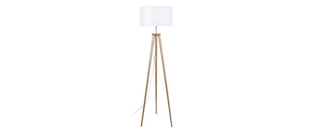 Lámpara de pie diseño trípode madera natural TRIPOD